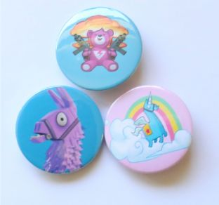 PACK OF 3 Girls Assorted Fortnite Badges